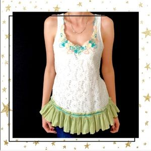 Lulumari Lace Embroidered Tank top Large (C4)